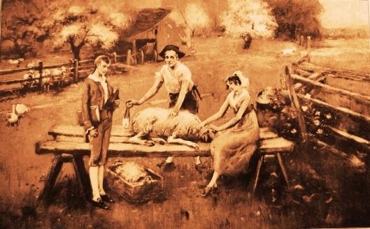 """Sheep Shearing"" by Lloyd Branson (1853–1925)"