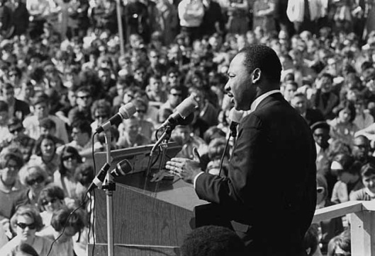 Martin Luther King, Jr., speaking against the Vietnam War, St. Paul Campus, University of Minnesota, 27 April 1967  CC-BY:  Minnesota Historical Society