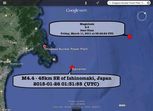 Onagawa NPS 26-1-2015 earthquake vs. 3-11 earthquake