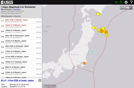 7 days Japan 4.5 plus earthquakes Feb. 23, 2015