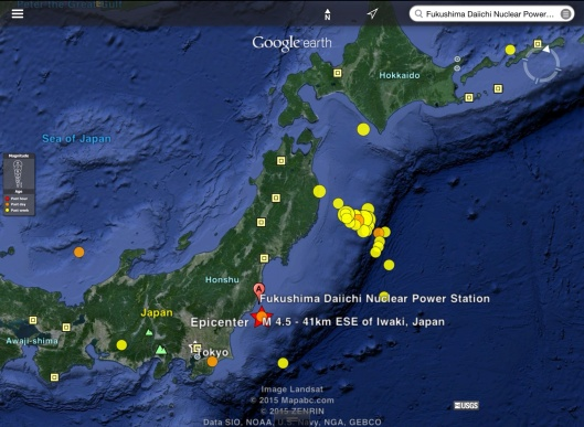 Japan 23 Feb. 2014 earthquakes exported to Google Earth