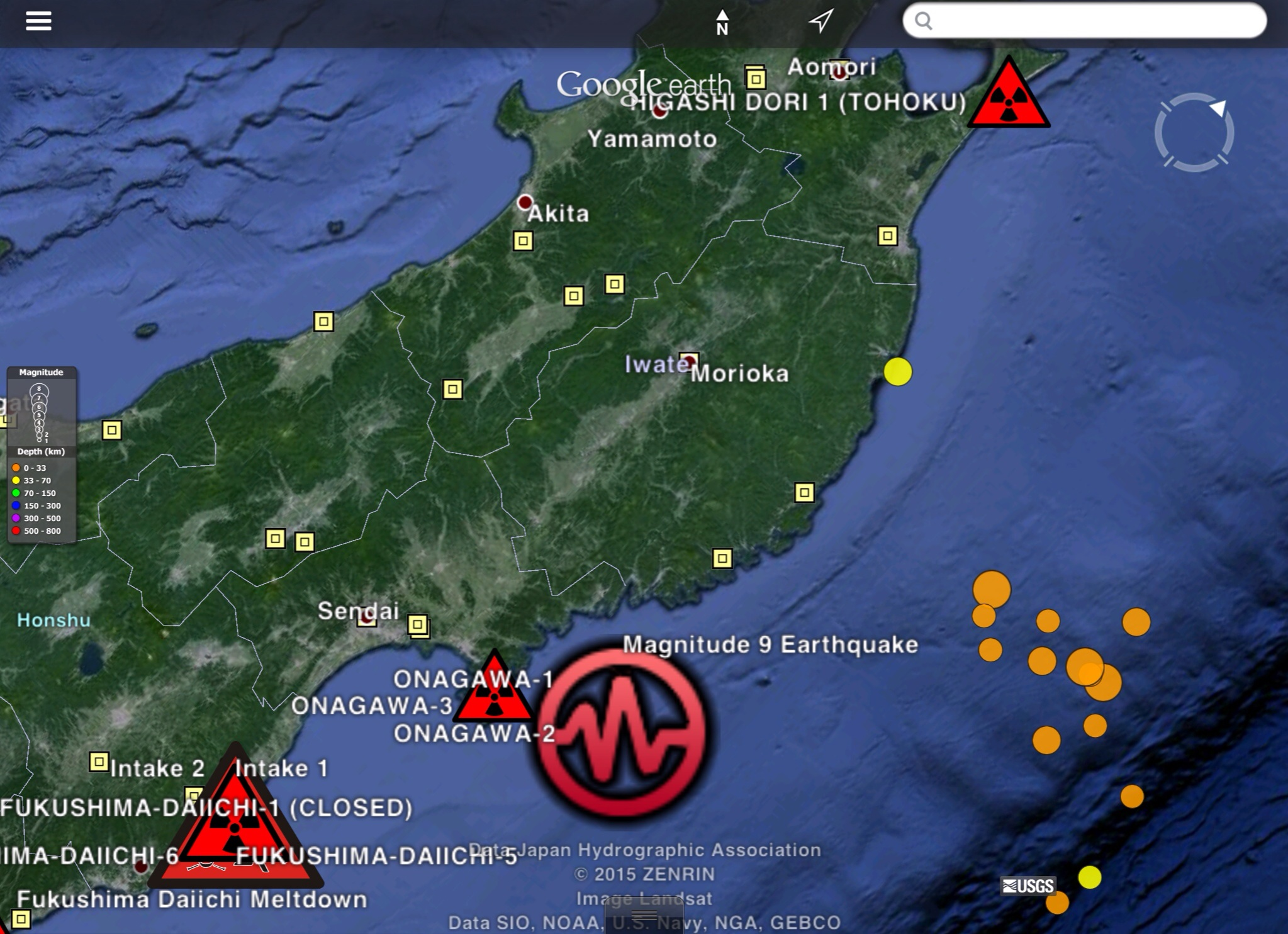 Why the recent japan earthquakes japan trench no place for nuclear nuclear reactor sites from climate viewer 3d kml files by jim lee cc by japan nuclear reactors plus recent large earthquakes gumiabroncs Image collections