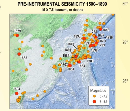 Japan mega-quakes 1500-1899, USGS, Rhea et. al., 2010