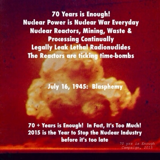 Nuclear Blasphemy, 70 Yrs is Enough Campaign