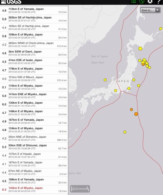 Recent earthquakes Japan 25 Feb. 2015, 7 days