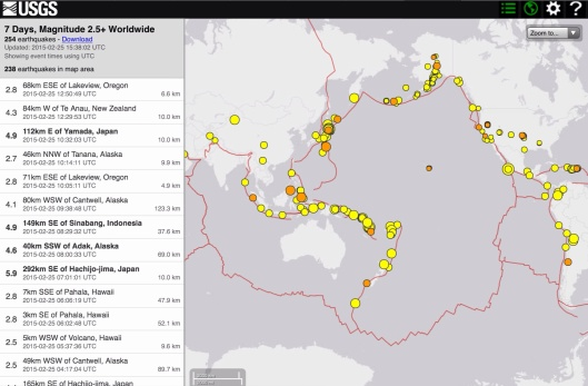 Ring of Fire quakes 25 Feb. 2015 7 days