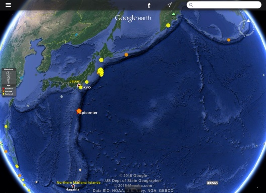Recent earthquakes shown along subduction zone outer trench swell