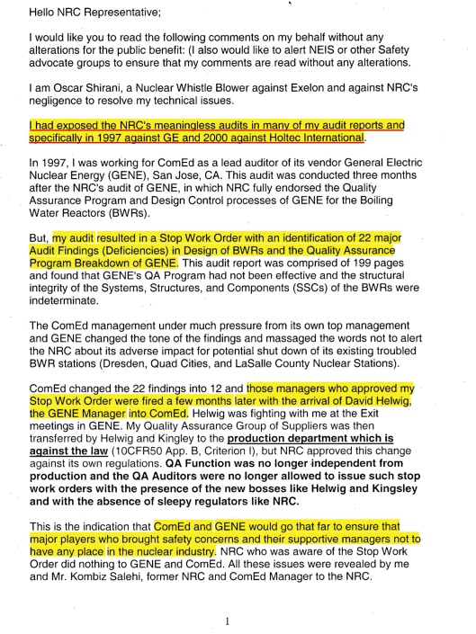 Oscar Shirani comment to the NRC on Mon, Oct 30, 2006 Subject: Exelon's Clinton Early Site permit EIS