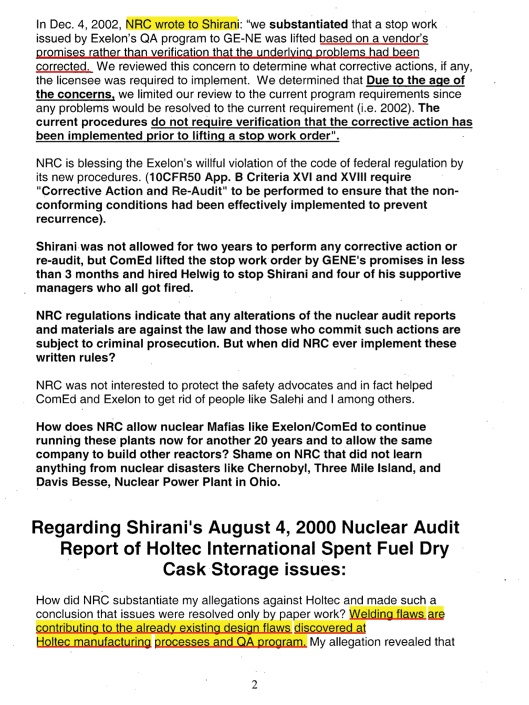 Oscar Shirani comment to the NRC on Mon, Oct 30, 2006 Subject: Exelon's Clinton Early Site permit EIS, p. 2