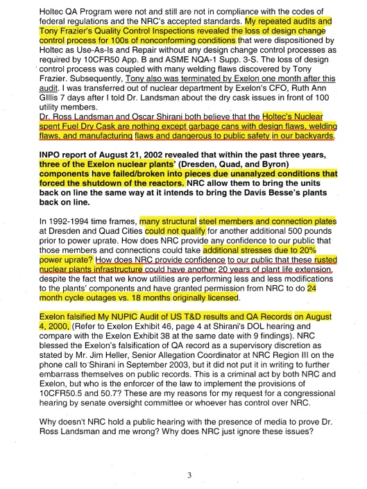 Oscar Shirani comment to the NRC on Mon, Oct 30, 2006 Subject: Exelon's Clinton Early Site permit EIS, p. 3