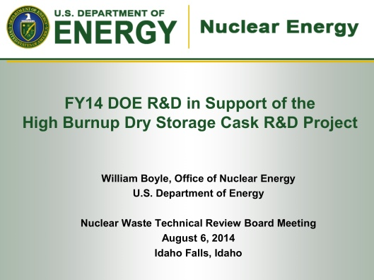 DOE-Boyle, Aug. 2014, Dry Cask Summary, p. 1