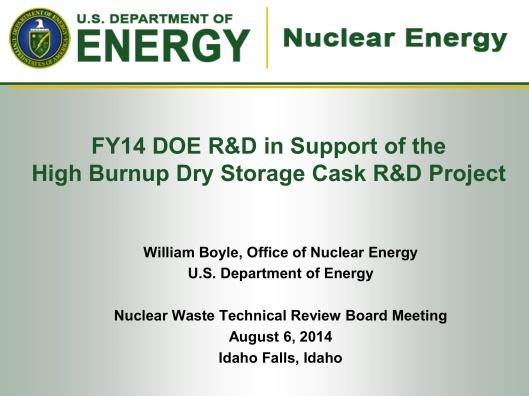 DOE-Boyle, Aug. 2014, Dry Cask Summary, p. 1