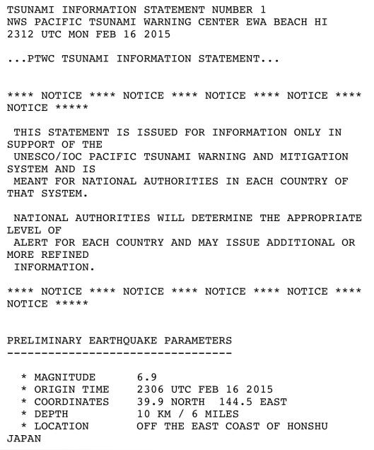 16 Feb. 2015 Tsunami warning NWS p. 1