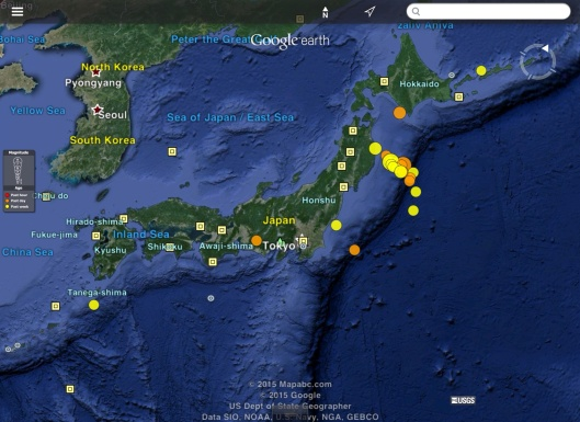 Earthquakes Japan over last 7 days (20 Feb. 2015 UTC) USGS