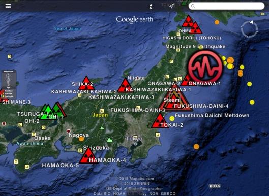 earthquake Japan week ending Feb. 20 2015 UTC, USGS, Nuclear sites: Jim Lee-ClimateViewer, CC-BY-NC-SA-4.0