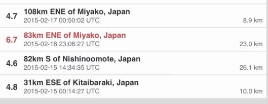 USGS Japan earthquakes last 7 days, 20 Feb. 2015, list, p. 2