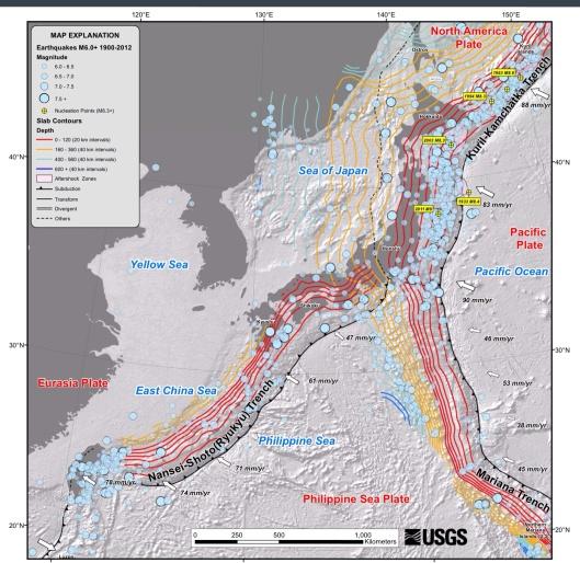 Japan earthquakes 1900-2012 USGS full map