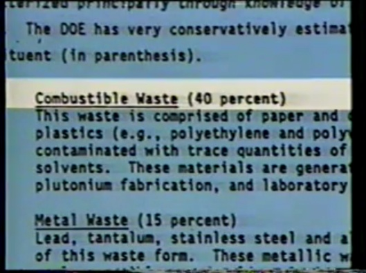 """The WIPP Trail"" 1989, Copyright October, 1990 CC-BY-NC-SA Alternative Information Network, Combustible Waste"