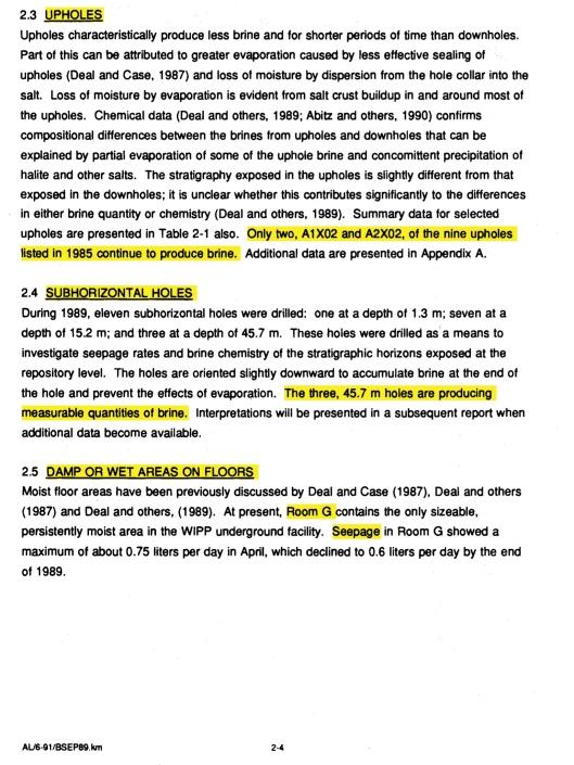 Brine Sampling and Eval, 1989, DOE-WIPP, Deal et. al., 1991, p. 2-4 Brine Sampling and Eval, 1989, DOE-WIPP, Deal et. al., 1991, p. 4-1