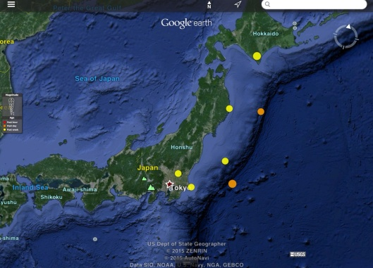 Japan Earthquakes 7 days 4.5 and greater, 27 March 2015