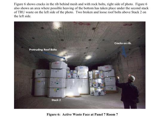 WIPP DOE Ceiling collapsing cracks uplift