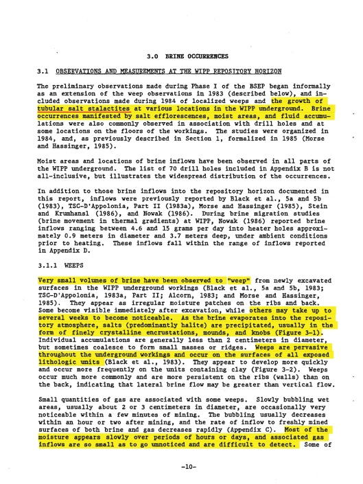 Deal, D.E., and J.B. Case. 1987. Brine Sampling and Evaluation Program Phase I Report. DOE-WIPP-87-008. Carlsbad, NM: Sandia National Laboratories, p. 10