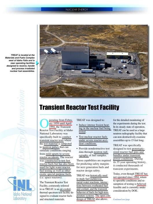 TREAT Reactor p. 1 INL DOE