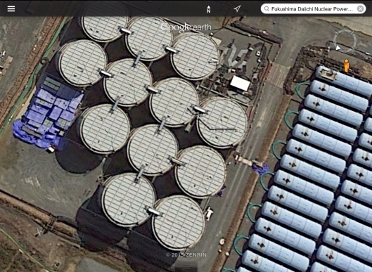 Fukushima nuclear waste water tanks google earth zoom