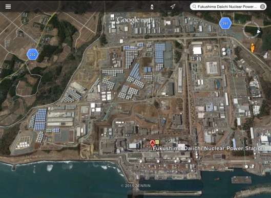 Fukushima nuclear waste water tanks birds eye view