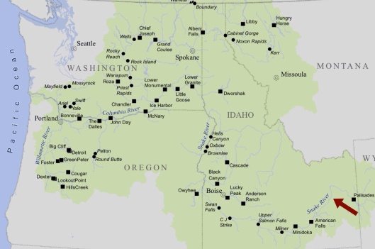 Columbia River Basin with dams arrow approx INL Idaho Falls