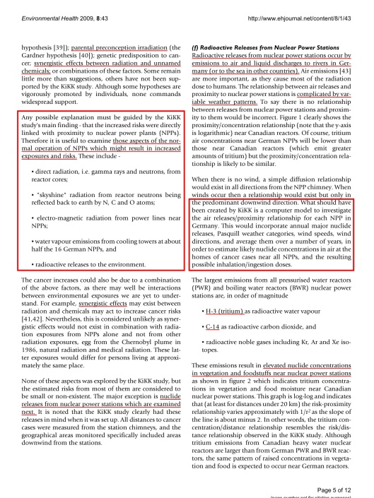 Commentary: childhood cancer near nuclear power stations Ian Fairlie © 2009 Fairlie; licensee BioMed Central Ltd. , p. 5