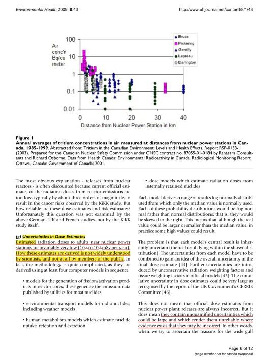 Kommentar: barncancer nära kärnkraftverk Ian Fairlie © 2009 Fairlie;  licenstagare BioMed Central Ltd, s.  6