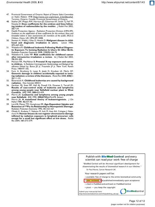 Kommentar: barncancer nära kärnkraftverk Ian Fairlie © 2009 Fairlie;  licenstagare BioMed Central Ltd, s.  12