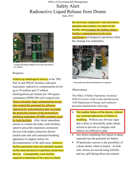 Office of Environmental Management  Safety Alert Radioactive Liquid Release from Drums  June 2011, p. 2