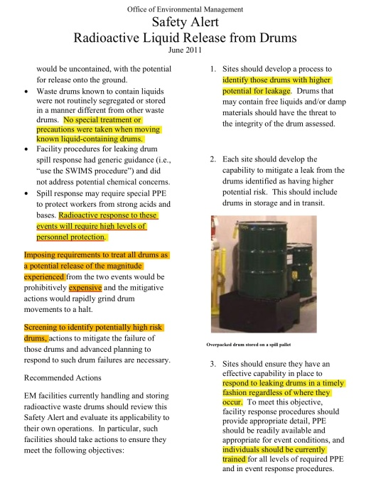 Office of Environmental Management  Safety Alert Radioactive Liquid Release from Drums  June 2011, p. 3
