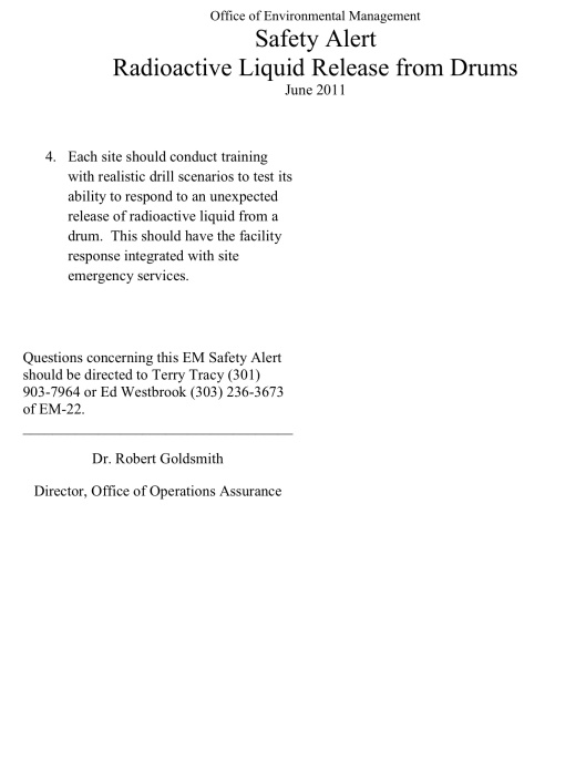Office of Environmental Management  Safety Alert Radioactive Liquid Release from Drums  June 2011, p. 4