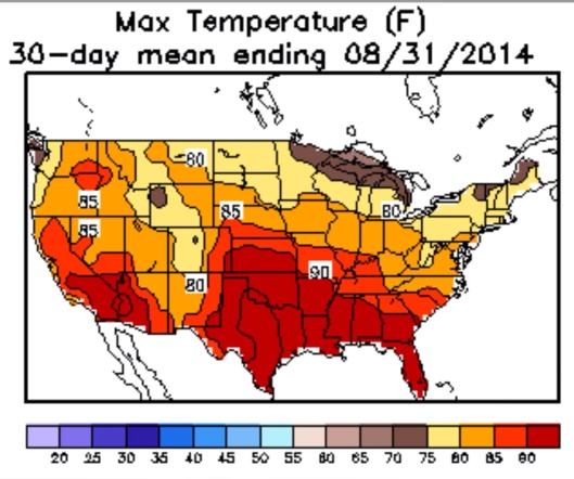 30 Day Max Mean USA Aug. 2014