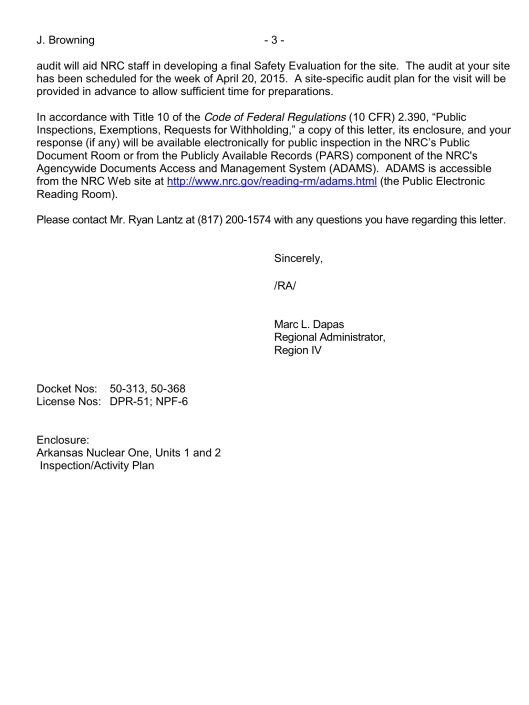 ANNUAL ASSESSMENT LETTER FOR ARKANSAS NUCLEAR ONE,  UNITS 1 AND 2 (REPORT 05000313/2014001 AND 05000368/2014001)   p. 3