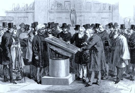 Eager orientalists examine the Rosetta Stone in 19th Century London. (Public domain.)