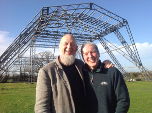 Farmer Michael Eavis with neighbour Theo Simon in front of Gastonbury Festival's Pyramid Stage.