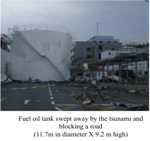 "Fukushima Nuclear Accident Analysis Report  (Interim Report)  ""           December 02, 2011 TEPCO oil tank swept by Tsunami"