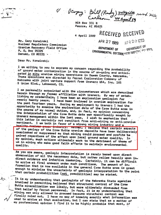 John Petersen letter April 1989 p. 1 alleging info coverup
