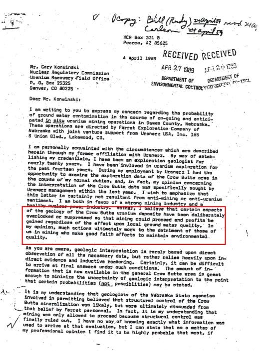 John Petersen letter April 1989 p. 1 alleging info coverup