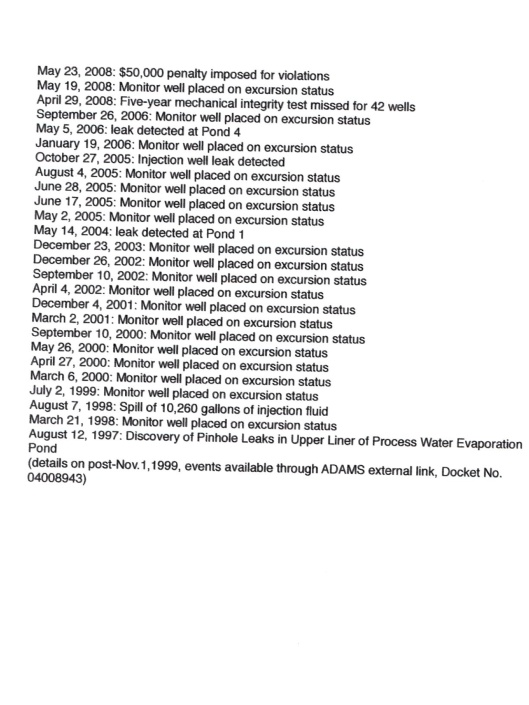 License violations and reportable events at Crow Butte ISL to Feb 2015 p. 2