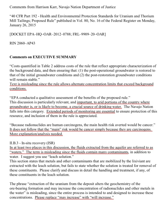 Navajo Nation Department of Justice, ISL Water Restoration [DOCKET EPA–HQ–OAR–2012–0788; FRL–9909–20–OAR], p. 1