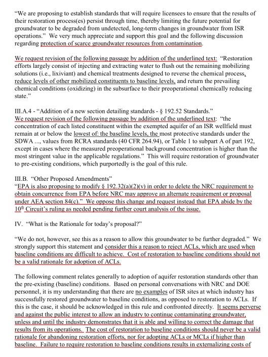 Navajo Nation Department of Justice, ISL Water Restoration [DOCKET EPA–HQ–OAR–2012–0788; FRL–9909–20–OAR], p. 2