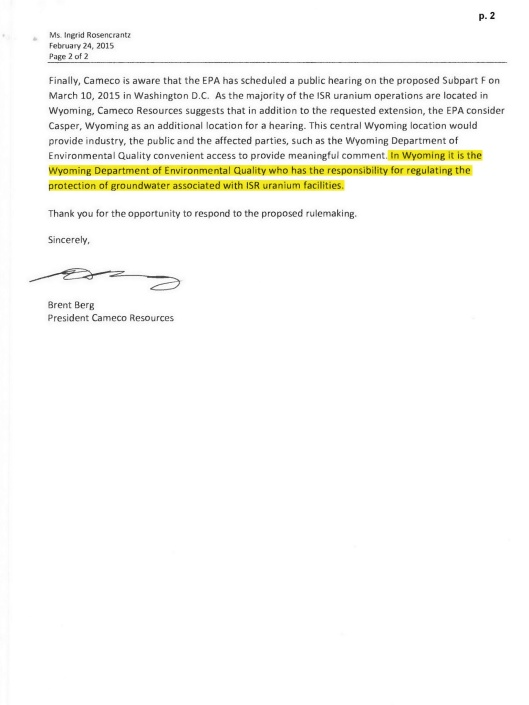 Cameco extension request EPA ISL 25 March p. 2