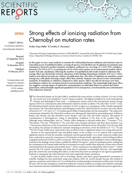 Strong effects of ionizing radiation from Chernobyl on mutation rates, p. 1