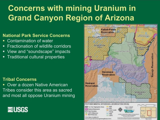 "Potential Withdrawal of Uranium Mining from the Grand Canyon Region, AZ"", by John Hoffmann and Bob Hart USGS Arizona Water Science Center June 8, 2010  A"