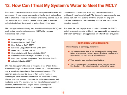 Radionuclides in Drinking Water: A Small Entity Compliance Guidep. How to Meet the MCL p. 19